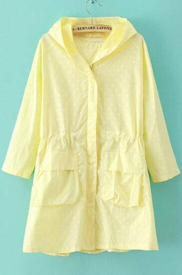 Yellow Hooded Half Sleeve Polka Dot Trench Coat