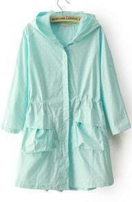 Green Hooded Half Sleeve Polka Dot Trench Coat
