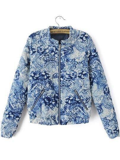 Blue Long Sleeve Floral Zipper Jacket