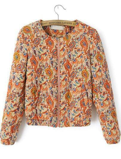 Orange Long Sleeve Cashews Print Jacket