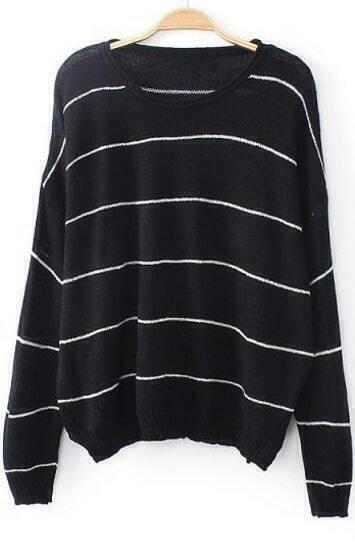 Black Long Sleeve Striped Loose Knit Sweater