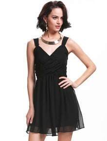 Black Spaghetti Strap Backless Netted Prom Dress