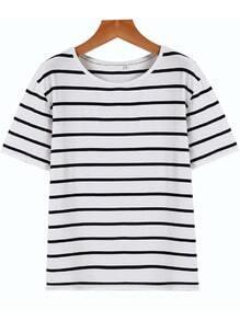 Navy White Short Sleeve Stripe Oversized Tee