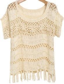 Apricot Short Sleeve Floral Crochet Tassel Top