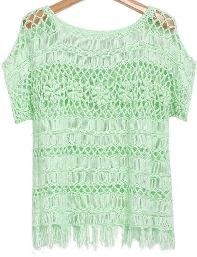 Green Short Sleeve Floral Crochet Tassel Top
