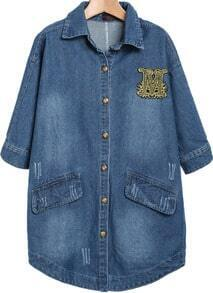 Navy Lapel Bleached Embroidered Denim Blouse