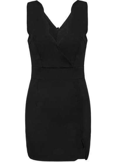 Black V Neck Sleeveless Slim Bodycon Chiffon Dress