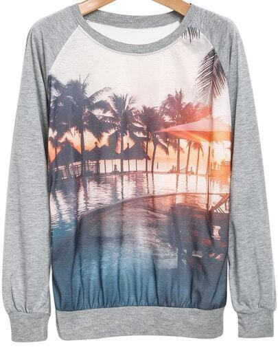 Grey Long Sleeve Dusk Print Sweatshirt