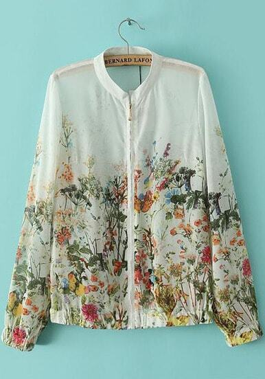 White Stand Collar Floral Butterfly Print Jacket