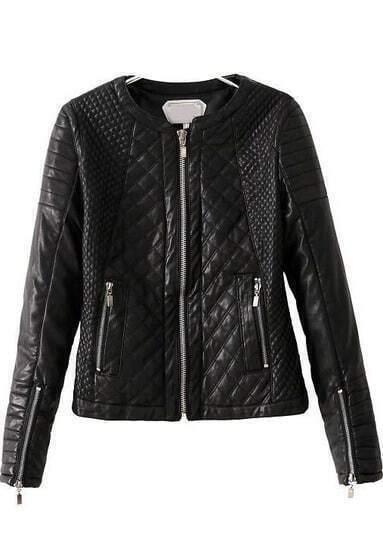 Black Long Sleeve Diamond Pattern PU Jacket