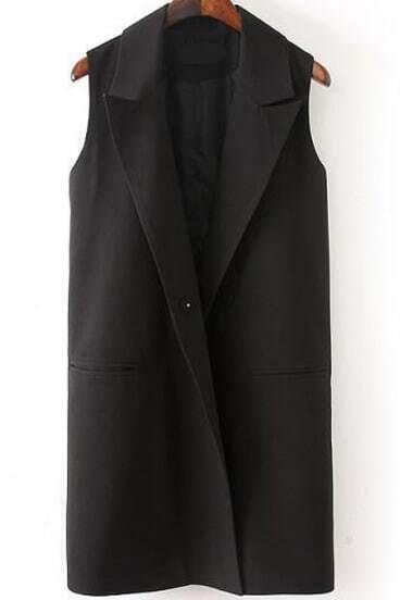 Black Lapel Sleeveless Pockets Blazer