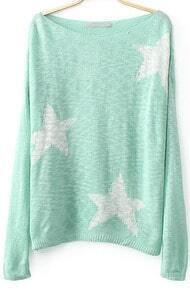 Green Long Sleeve Stars Print Kint Sweater