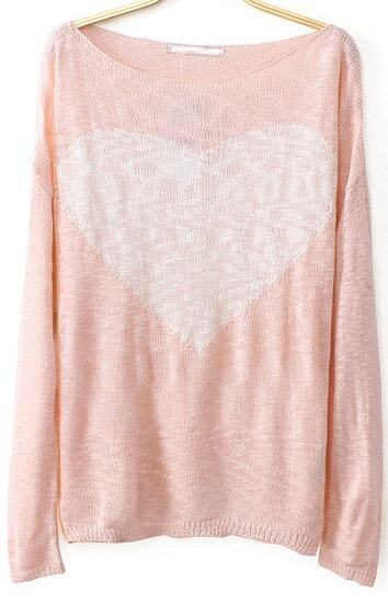 Pink Long Sleeve Heart Print Knit Sweater