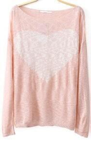 Pink Long Sleeve Heart Print Knit Sweater