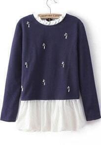 Navy Long Sleeve Bead Contrast Ruffle Sweater