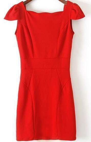 Red Sleeveless Bow Backless Bodycon Dress