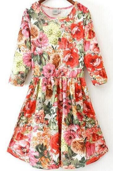 Red Round Neck Half Sleeve Floral Pleated Dress