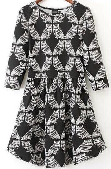 Black Half Sleeve Owl Print Dress