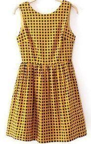 Yellow Round Neck Sleeveless Plaid Pleated Dress