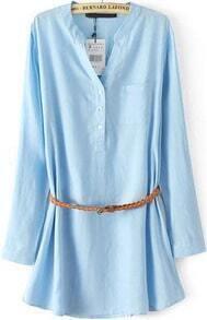 Blue Long Sleeve Pocket Loose Blouse