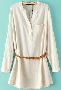 White Long Sleeve Pocket Loose Blouse