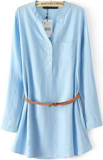 Blue Long Sleeve Pocket Loose Blouse