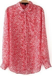 Red Lapel Long Sleeve Floral Chiffon Blouse