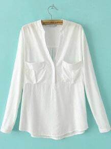 White Long Sleeve Pockets Loose Blouse