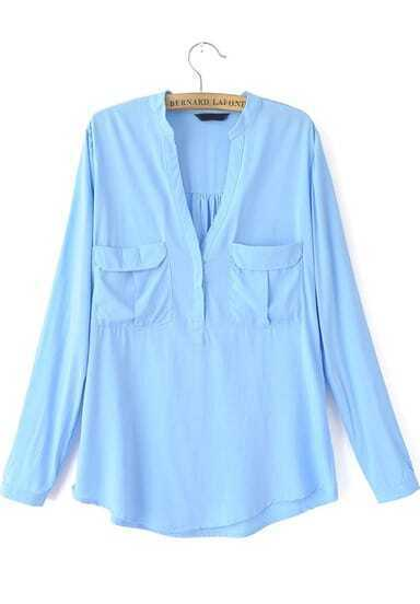 Blue Long Sleeve Pockets Loose Blouse