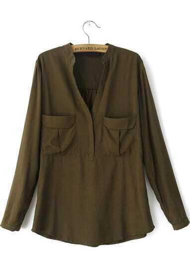 Army Green Long Sleeve Pockets Loose Blouse