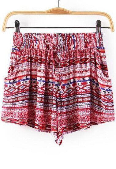 Shorts tribal cintura elástica-rojo