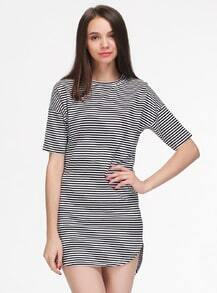 Black White Striped Short Sleeve Loose Dress