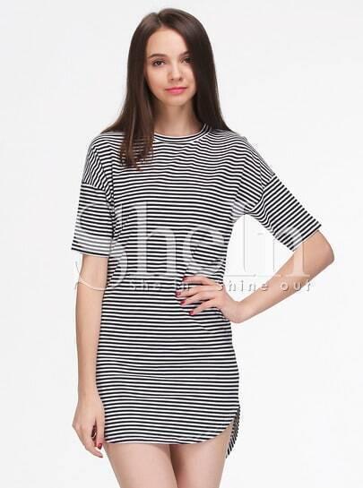 Black White Striped Short Sleeve Loose Dress