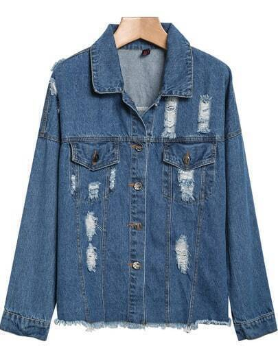 Blue Lapel Long Sleeve Ripped Fringe Denim Jacket