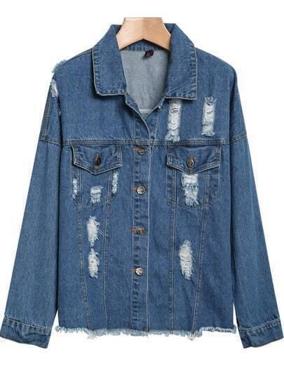 Blue Lapel Long Sleeve Ripped Fringe Denim Jacket