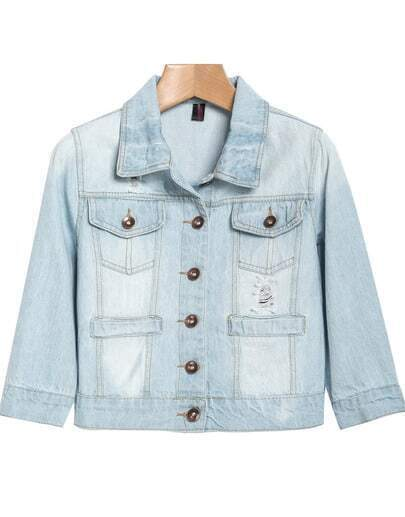Light Blue Lapel Bleached Crop Denim Jacket