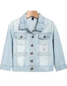 Light Blue Lapel Bleached Crop Denim Jacket