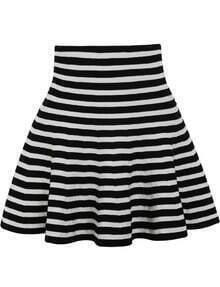 Black White Striped Ruffle Skirt