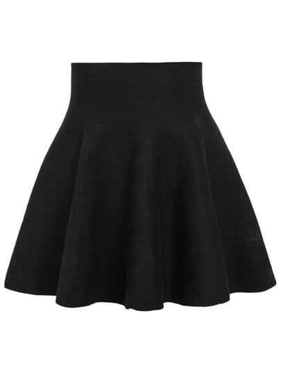 Black High Waist Ruffle Skirt