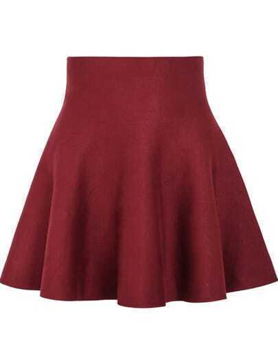 Red High Waist Ruffle Skirt