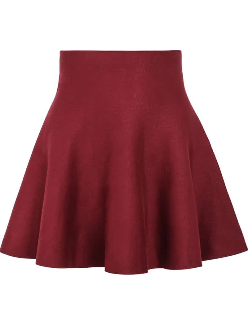 Red High Waist Ruffle Skirt -SheIn(Sheinside)