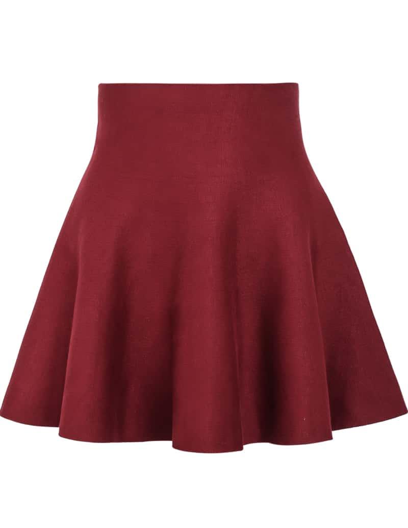 Red High Waist Ruffle Skirt