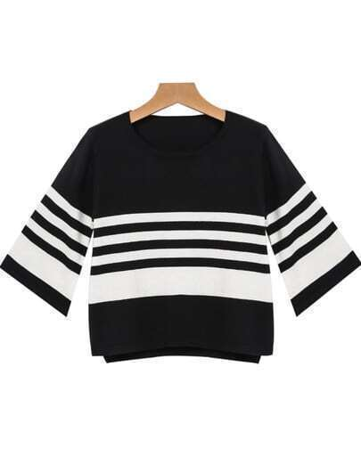 Black Round Neck Striped Loose Blouse