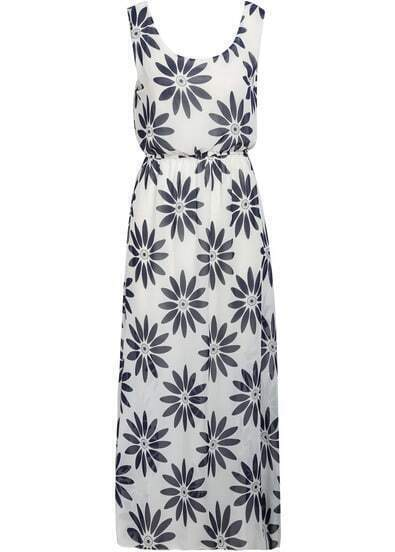 White Sleeveless Sunflowers Print Chiffon Dress