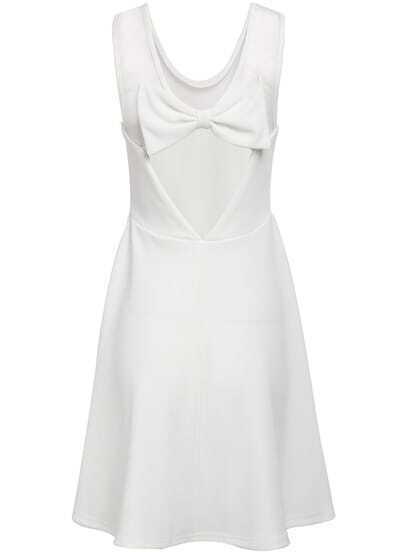 White Contrast Sheer Mesh Yoke Bow Pleated Dress
