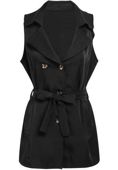 Black Lapel Sleeveless Belt Epaulet Outerwear