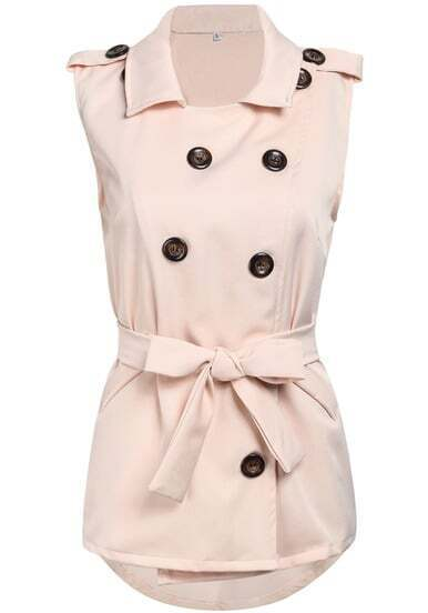 Pink Lapel Sleeveless Belt Epaulet Outerwear
