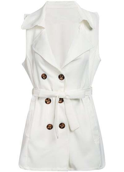 White Lapel Sleeveless Double Breasted Coat