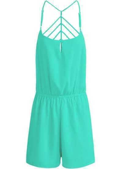 Green Spaghetti Strap Backless Chiffon Jumpsuit