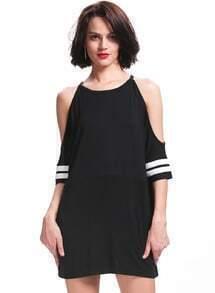 Black Off the Shoulder Loose Dress